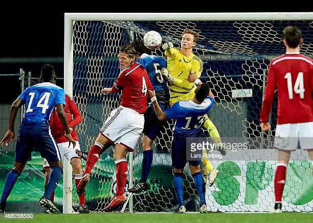 Goalkeeper Frederik Ronnow of Denmark U21 in action during the U21 International Friendly match between Denmark U21 and Unites States U21 at Lyngby...