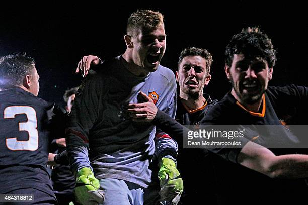 Goalkeeper Gabriele Marchegiani of Roma is congratulated by team mates after his save in the penalty in the shoot out wins the UEFA Youth League...