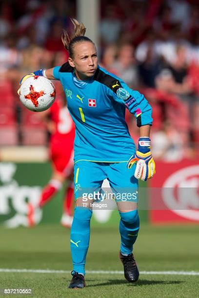 Goalkeeper Gaelle Thalmann of Switzerland controls the ball during the Group C match between Austria and Switzerland during the UEFA Women's Euro...
