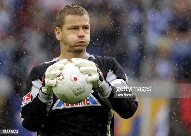Goalkeeper Georg Koch is seen during the Bundesliga match between MSV Duisburg and VFB Stuttgart at the MSV Arena on August 6 2005 in Duisburg Germany