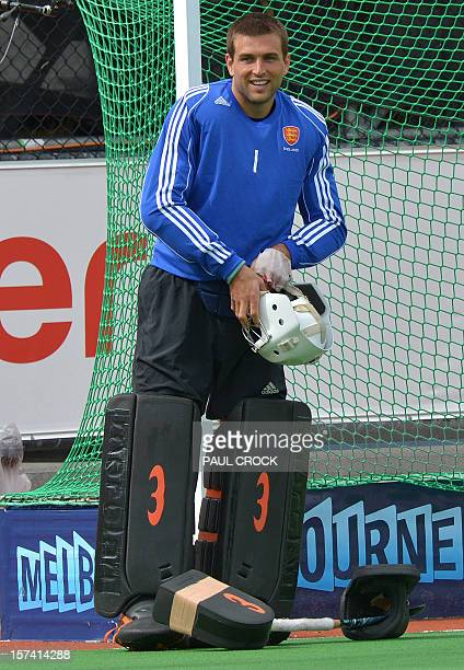Goalkeeper George Pinner of England prepares for a practice session for the Men's Hockey Champions Trophy tournament in Melbourne on December 3 2012...