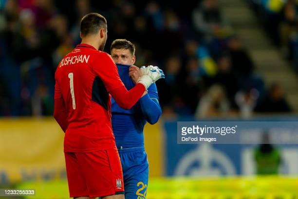 Goalkeeper Georgiy Bushchan of Ukraine and Mykola Matvienko of Ukraine looks on during the international friendly match between Ukraine and Northern...
