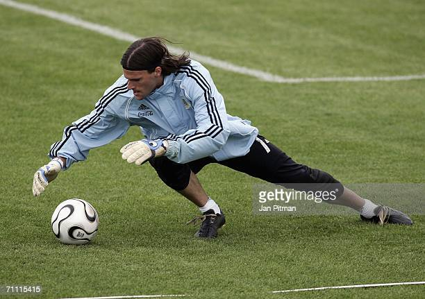 Goalkeeper German Lux jumps after a ball during a Argentina team training session on June 3 2006 in Herzogenaurach Germany The Argentina squad are...