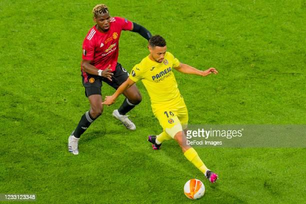Goalkeeper Gero Rulli of Villarreal CF and Francis Coquelin of Villarreal CF battle for the ball during the UEFA Europa League Final between...