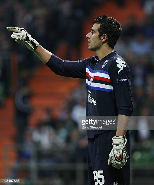 Goalkeeper Gianluca Curci gestures during the Uefa Champions League qualifying match between Werder Bremen and Sampdoria Genua at Weser Stadium on...