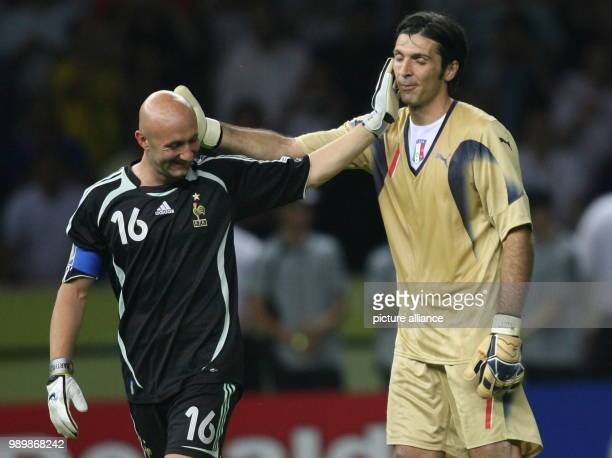 Goalkeeper Gianluigi Buffon from Italy and Fabien Barthez from France prior the penalty shoot out during the final of the 2006 FIFA World Cup between...