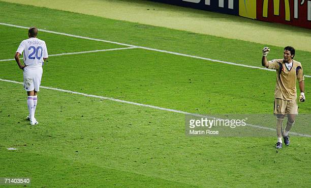 Goalkeeper Gianluigi Buffon of Italy celebrates after David Trezeguet of France misses his penalty kick during a penalty shootout at the end of the...