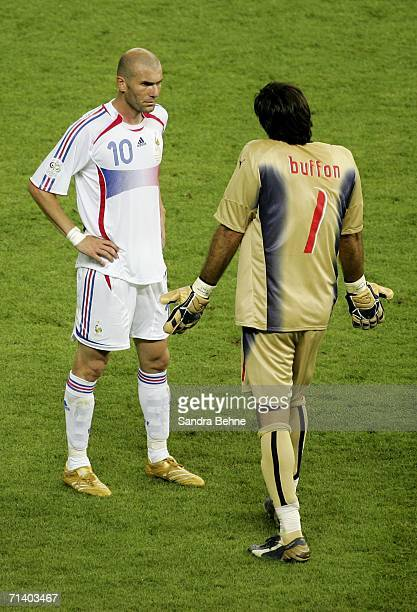 Goalkeeper Gianluigi Buffon of Italy confronts Zinedine Zidane of France after Zidane headbutted Marco Materazzi of Italy in the chest during the...