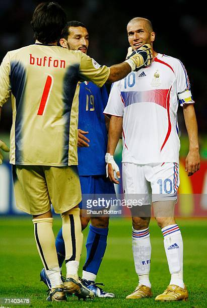 Goalkeeper Gianluigi Buffon of Italy has words with Zinedine Zidane of France during the FIFA World Cup Germany 2006 Final match between Italy and...
