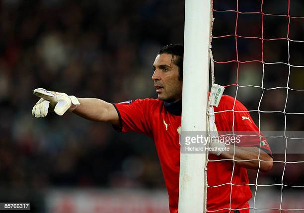 Goalkeeper Gianluigi Buffon of Italy in action during the FIFA 2010 World Cup Qualifier between Italy and The Republic of Ireland in the Stadio San...
