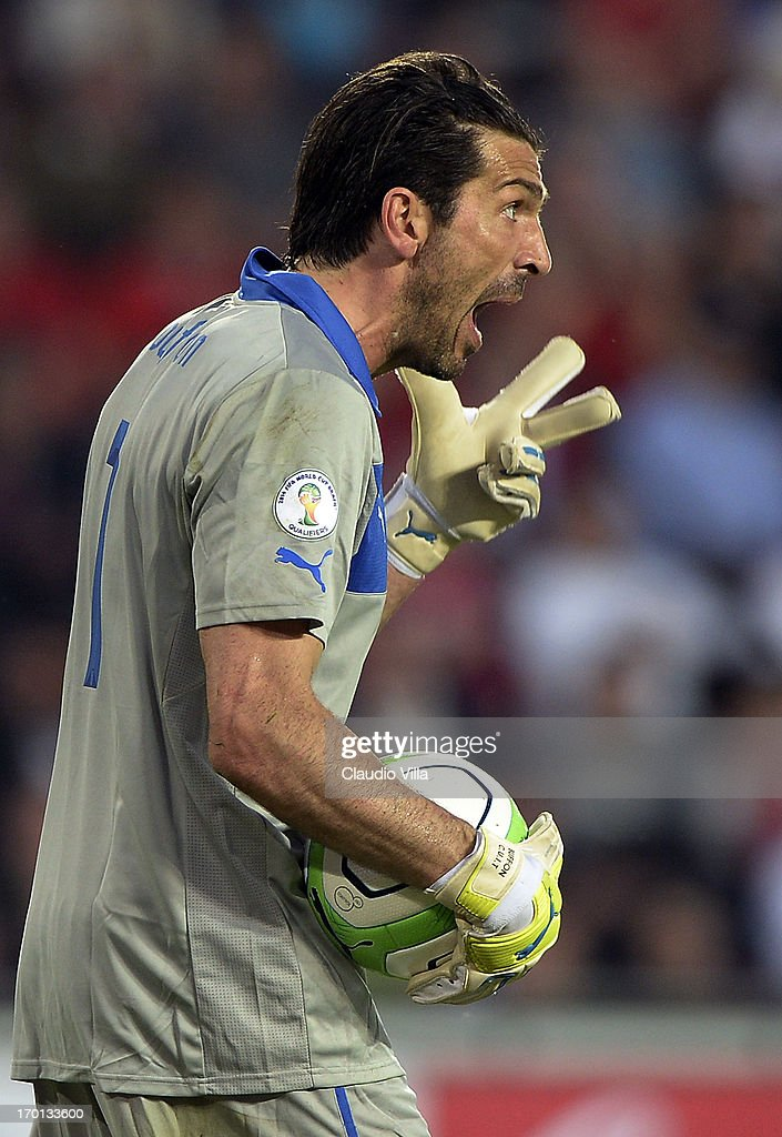 Goalkeeper Gianluigi Buffon of Italy reacts during the FIFA 2014 World Cup Qualifier group B match between Czech Republic and Italy at Generali Arena on June 7, 2013 in Prague, Czech Republic.