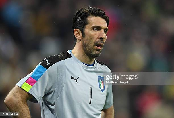Goalkeeper Gianluigi Buffon of Italy seen during the International Friendly match between Germany and Italy at Allianz Arena on March 29 2016 in...