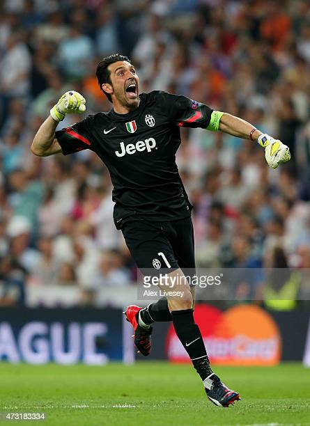 Goalkeeper Gianluigi Buffon of Juventus celebrates after teammate Alvaro Morata of Juventus scores a goal to level the scores at 11 during the UEFA...