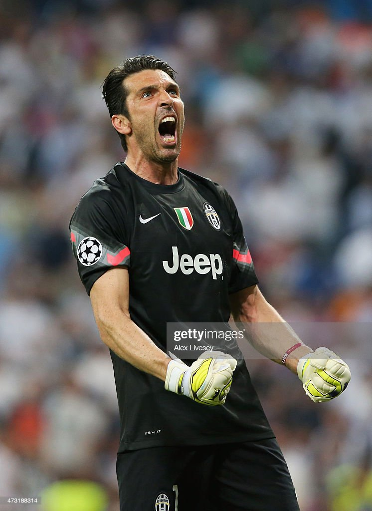 Goalkeeper Gianluigi Buffon of Juventus celebrates following his team's progression to the final during the UEFA Champions League Semi Final, second leg match between Real Madrid and Juventus at Estadio Santiago Bernabeu on May 13, 2015 in Madrid, Spain.