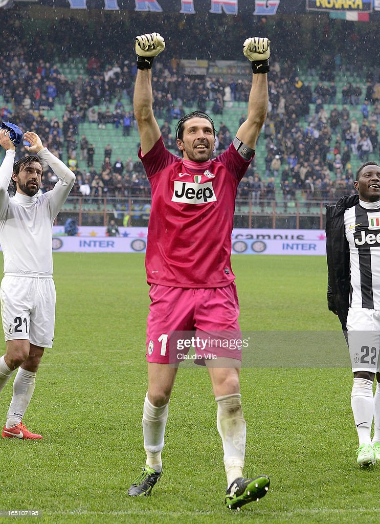 Goalkeeper Gianluigi Buffon of Juventus FC celebrates victory at the end of the Serie A match between FC Internazionale Milano and Juventus FC at San Siro Stadium on March 30, 2013 in Milan, Italy.