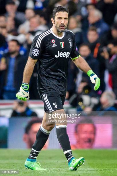 Goalkeeper Gianluigi Buffon of Juventus leaves the pitch after been sent off during the UEFA Champions League 201718 quarterfinals match between Real...