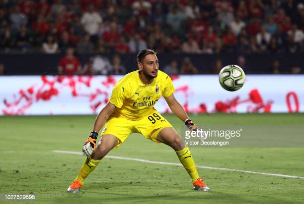 Goalkeeper Gianluigi Donnarumma of AC Milan makes a save during the second half of the International Champions Cup 2018 match at StubHub Center on...