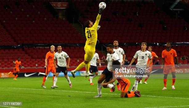 Goalkeeper, Gianluigi Donnarumma of Italy catches the ball clear during the UEFA Nations League group stage match between Netherlands and Italy at...