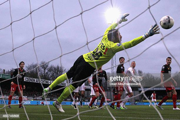 Goalkeeper, Gino Coutinho of Excelsior makes a save during the Dutch Eredivisie match between S.B.V. Excelsior Rotterdam and Ajax Amsterdam held at...