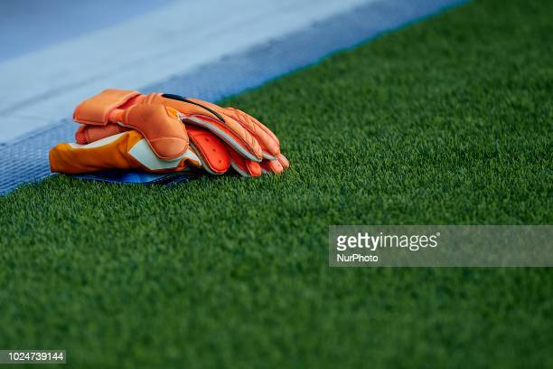 Goalkeeper gloves on the pitch during the La Liga match between Levante and Celta de Vigo at Ciutat de Valencia on August 27 2018 in Valencia Spain
