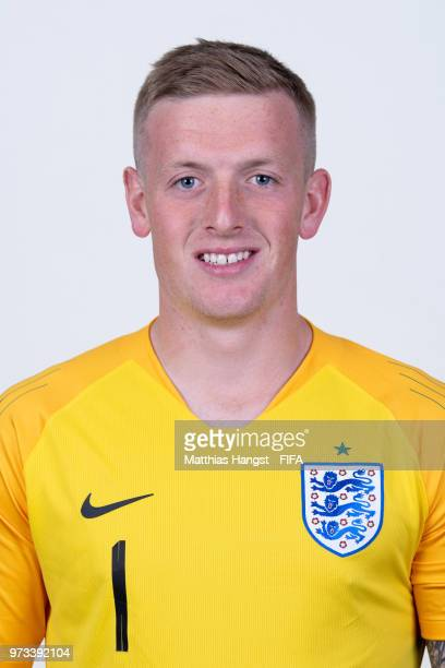 Goalkeeper Goalkeeper Jordan Pickford of England poses for a portrait during the official FIFA World Cup 2018 portrait session at on June 13 2018 in...