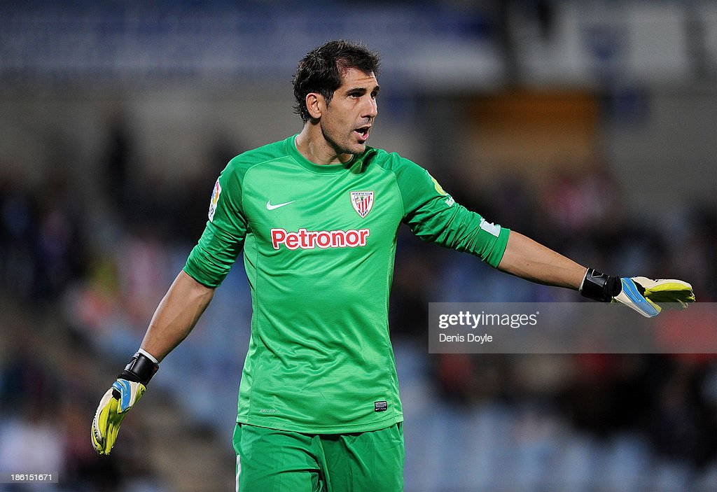 Goalkeeper Gorka Iraizoz of Athletic Club reacts during the La Liga match between Getafe CF and Athletic Club at Coliseum Alfonso Perez stadium on October 28, 2013 in Getafe, Spain.