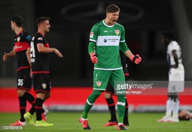 Goalkeeper Gregor Kobel of Stuttgart celebrates after the Second Bundesliga match between VfB Stuttgart and Hamburger SV at MercedesBenz Arena on May...