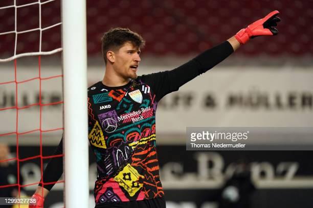 Goalkeeper Gregor Kobel of Stuttgart reacts during the Bundesliga match between VfB Stuttgart and 1. FSV Mainz 05 at Mercedes-Benz Arena on January...