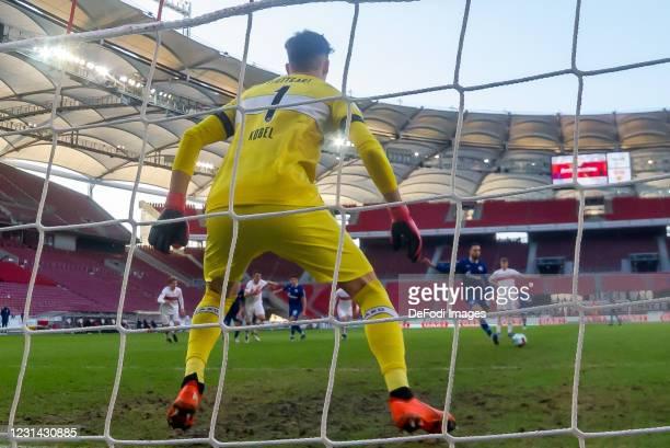 Goalkeeper Gregor Kobel of VfB Stuttgart and Nabil Bentaleb of FC Schalke 04 battle for the ball during the Bundesliga match between VfB Stuttgart...