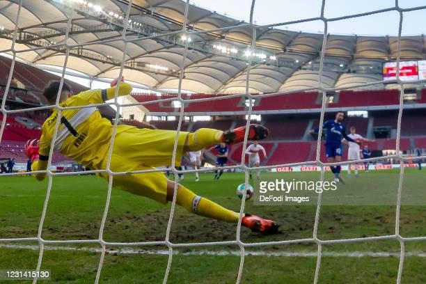 Goalkeeper Gregor Kobel of VfB Stuttgart ud Nabil Bentaleb of FC Schalke 04 battle for the ball during the Bundesliga match between VfB Stuttgart and...