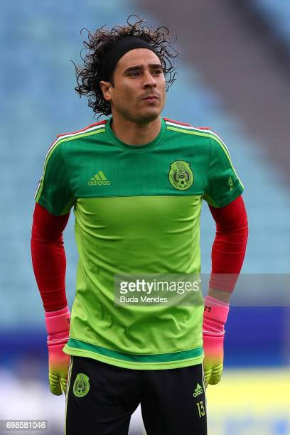 Goalkeeper Guillermo Ochoa of Mexico in action during the Mexico training session at the FIFA Confederations Cup Russia 2017 held at Fisht Olympic...