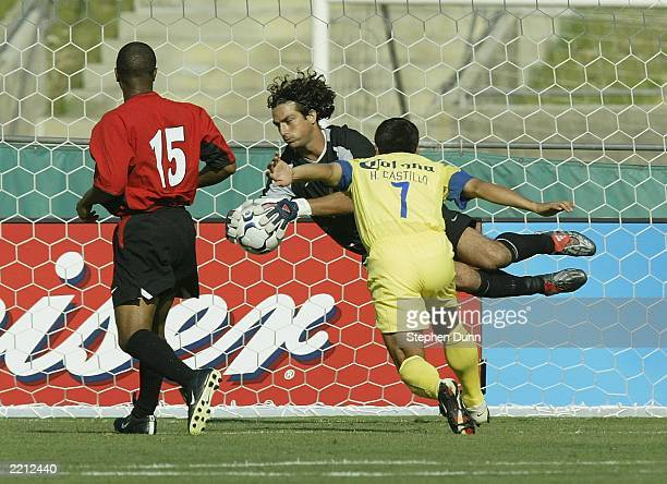 Goalkeeper Guillermo Osha of Club America saves the goal over Manchester United during their match on July 27 2003 at the Los Angeles Coliseum in Los...