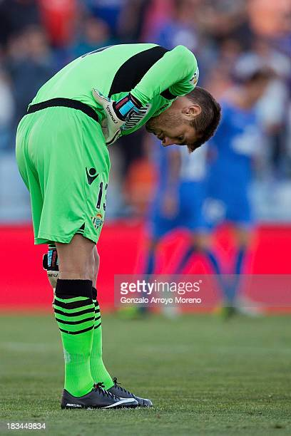 Goalkeeper Guillermo Sara of Real Betis Balompie reacts after Getafe CF's first goal during the La Liga match between Getafe CF and Real Betis...