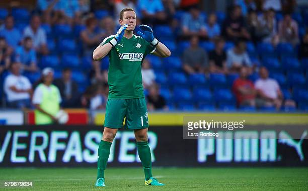 Goalkeeper Hannes Halldorsson of Randers FC in action during the Danish Alka Superliga match between Randers FC and AaB Aalborg at BioNutria Park on...