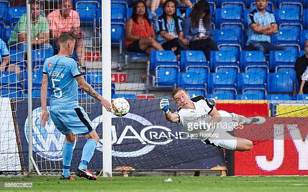 Goalkeeper Hannes Halldorsson of Randers FC in action during the Danish Alka Superliga match between Randers FC and Silkeborg IF at NioNutria Park on...