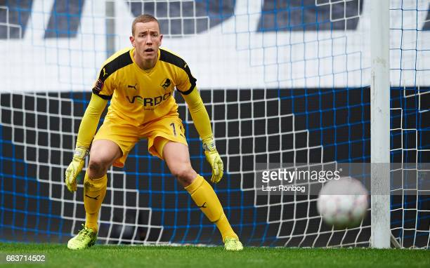 Goalkeeper Hannes Halldorsson of Randers FC in action during the Danish Alka Superliga match between Esbjerg fB and Randers FC at Blue Water Arena on...