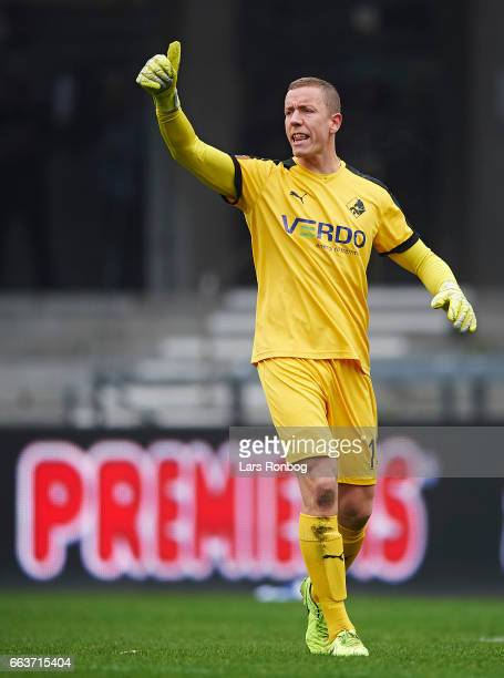 Goalkeeper Hannes Halldorsson of Randers FC shouts during the Danish Alka Superliga match between Esbjerg fB and Randers FC at Blue Water Arena on...