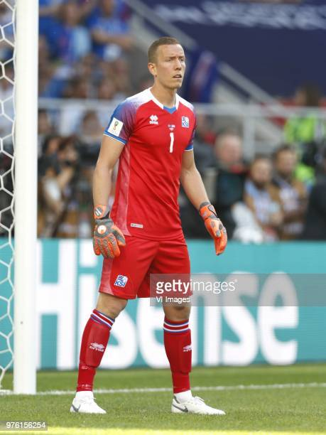 goalkeeper Hannes Por Halldorsson of Iceland during the 2018 FIFA World Cup Russia group D match between Argentina and Iceland at the Spartak Stadium...