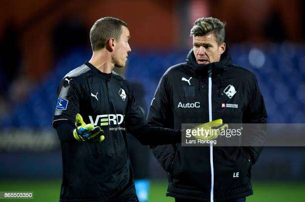Goalkeeper Hannes Thor Halldorsson of Randers FC and Mads Agesen of Randers FC showing frustration after the Danish Alka Superliga match between...