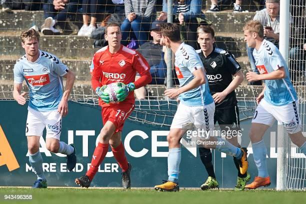 Goalkeeper Hannes Thor Halldorsson of Randers FC in action during the Danish Alka Superliga match between SonderjyskE and Randers FC at Sydbank Park...