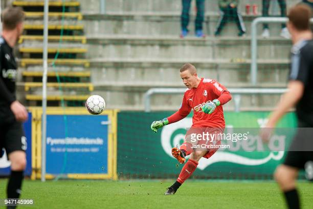 Goalkeeper Hannes Thor Halldorsson of Randers FC in action during the Danish Alka Superliga match between OB Odense and Randers FC at EWII Park on...