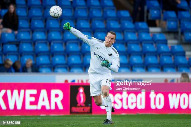 Goalkeeper Hannes Thor Halldorsson of Randers FC in action during the Danish Alka Superliga match between Randers FC and OB Odense at BioNutria Park...