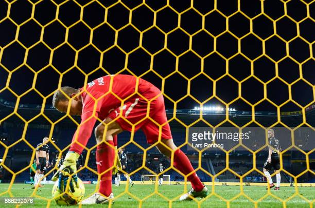 Goalkeeper Hannes Thor Halldorsson of Randers FC picks up the ball after the 21 goal made by Besar Halimi of Brondby IF during the Danish Alka...