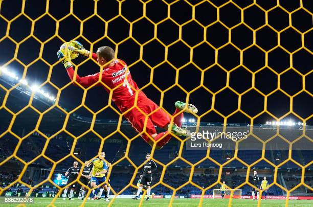Goalkeeper Hannes Thor Halldorsson of Randers FC saves the ball during the Danish Alka Superliga match between Brondby IF and Randers FC at Brondby...