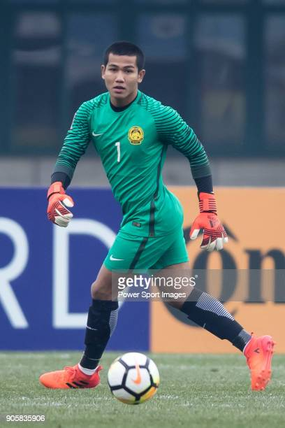 Goalkeeper Haziq Nadzli of Malaysia in action during the AFC U23 Championship China 2018 Group C match between Malaysia and Jordan at Changshu Sports...