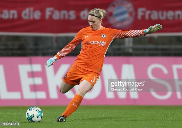 Goalkeeper Hedvig Lindahl of Chelsea FC kicks the ball during the Champions League round of 32 second leg match between FC Bayern Muenchen and...