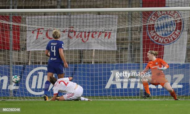 Goalkeeper Hedvig Lindahl of Chelsea FC misses to save a goal not given during the Champions League round of 32 second leg match between FC Bayern...