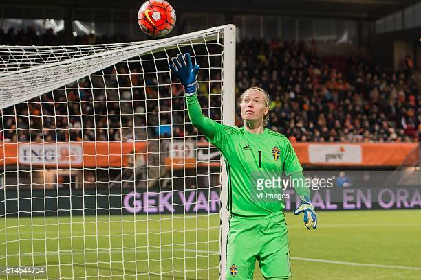 goalkeeper Hedvig Lindahl of Sweden during the 2016 UEFA Women's Olympic Qualifying Tournament match between Netherlands and Sweden on March 9 2016...
