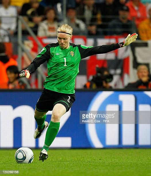 Goalkeeper Hedvig Lindahl of Sweden during the FIFA Women's World Cup Semi Final match between Japan and Sweden at the FIFA World Cup Stadium...