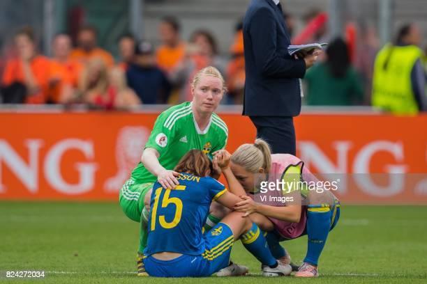 goalkeeper Hedvig Lindahl of Sweden women Jessica Samuelsson of Sweden women during the UEFA WEURO 2017 quarter finale match between The Netherlands...